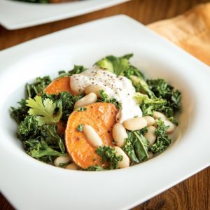 White Bean, Sweet Potato, and Kale Toss with Spiced Garlic Yogurt
